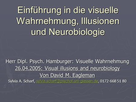 Einführung in die visuelle Wahrnehmung, Illusionen und Neurobiologie Herr Dipl. Psych. Hamburger: Visuelle Wahrnehmung 26.04.2005: Visual illusions and.