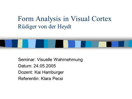 Form Analysis in Visual Cortex Rüdiger von der Heydt