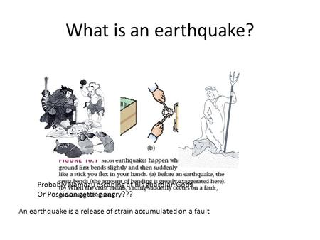 What is an earthquake? Probably Namazu escaping at his guardian Gods Or Poseidon getting angry??? An earthquake is a release of strain accumulated on a.