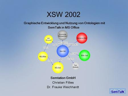XSW 2002 Graphische Entwicklung und Nutzung von Ontologien mit SemTalk in MS Office Semtation GmbH Christian Fillies Dr. Frauke Weichhardt.
