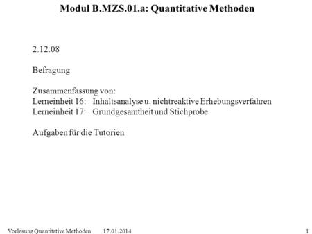 Modul B.MZS.01.a: Quantitative Methoden