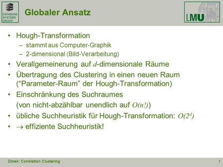 Globaler Ansatz Hough-Transformation