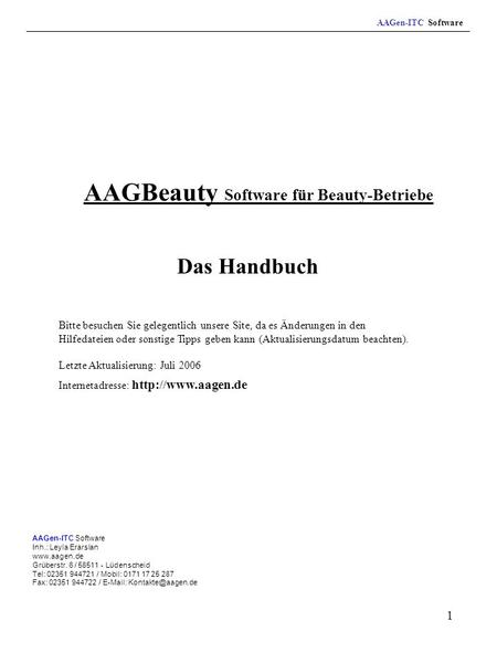 AAGBeauty Software für Beauty-Betriebe