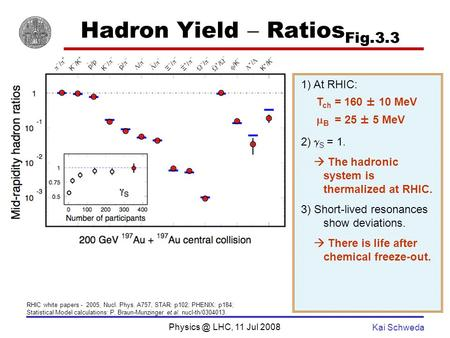LHC, 11 Jul 2008 Kai Schweda Hadron Yield Ratios Fig.3.3 1) At RHIC: T ch = 160 ± 10 MeV B = 25 ± 5 MeV 2) S = 1. The hadronic system is thermalized.