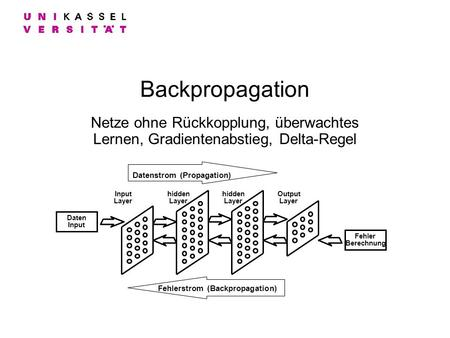 Datenstrom (Propagation) Fehlerstrom (Backpropagation)