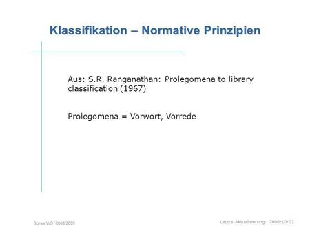 Letzte Aktualisierung: 2008-10-02 Spree WS 2008/2009 Klassifikation – Normative Prinzipien Aus: S.R. Ranganathan: Prolegomena to library classification.