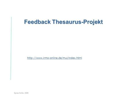 Feedback Thesaurus-Projekt
