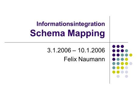 Informationsintegration Schema Mapping