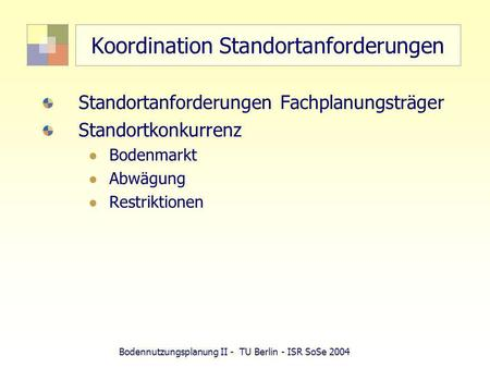 Koordination Standortanforderungen
