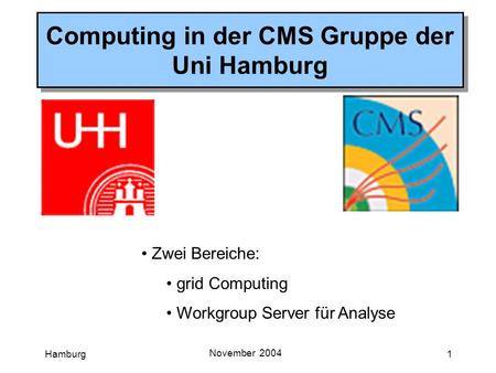 Hamburg November 2004 1 Computing in der CMS Gruppe der Uni Hamburg Zwei Bereiche: grid Computing Workgroup Server für Analyse.