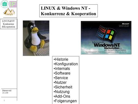 LINUX&NT/ Konkurrenz &Kooperation Dürrenweid 20.4.99 Professur systeme Betriebs- CheOpS 1 LINUX & Windows NT - Konkurrenz & Kooperation Historie Konfiguration.