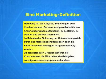 Eine Marketing-Definition