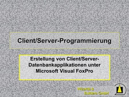 Wizards & Builders GmbH Client/Server-Programmierung Erstellung von Client/Server- Datenbankapplikationen unter Microsoft Visual FoxPro.