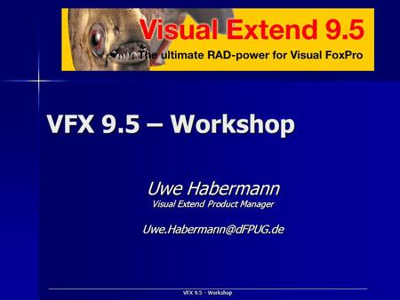 VFX 9.5 - Workshop VFX 9.5 – Workshop Uwe Habermann Visual Extend Product Manager