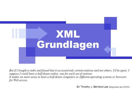XML Grundlagen But if I bought a radio and found that it accessed only certain stations and not others, I'd be upset. I suppose I could have a half dozen.