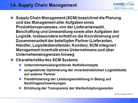 I.4. Supply Chain Management