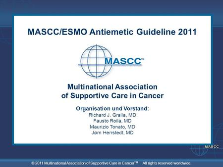 MASCC/ESMO Antiemetic Guideline 2011