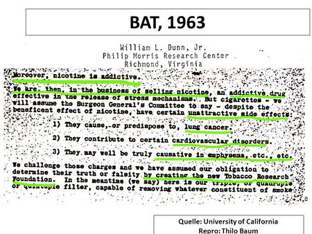 BAT, 1963 Quelle: University of California Repro: Thilo Baum.