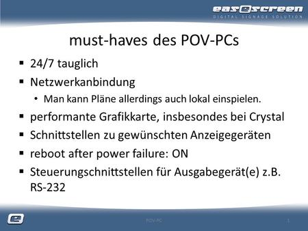 must-haves des POV-PCs
