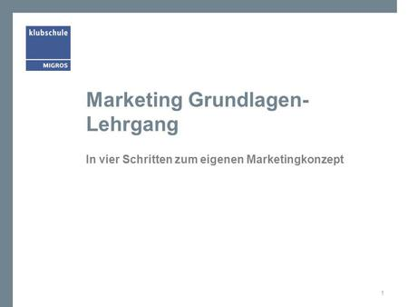 Marketing Grundlagen-Lehrgang