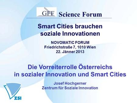 Science Forum Smart Cities brauchen soziale Innovationen