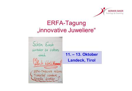 "ERFA-Tagung ""innovative Juweliere"""