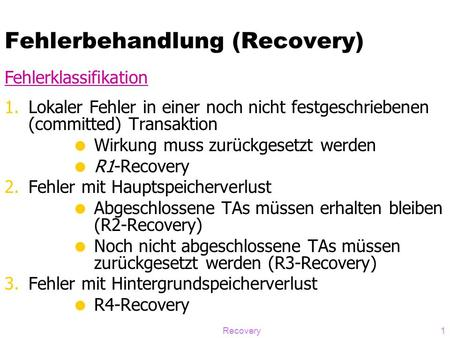Fehlerbehandlung (Recovery)