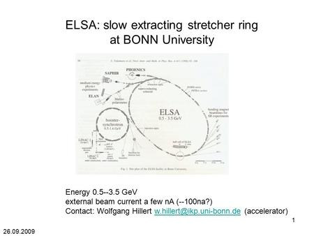 26.09.2009 1 ELSA: slow extracting stretcher ring at BONN University Energy 0.5--3.5 GeV external beam current a few nA (--100na?) Contact: Wolfgang Hillert.