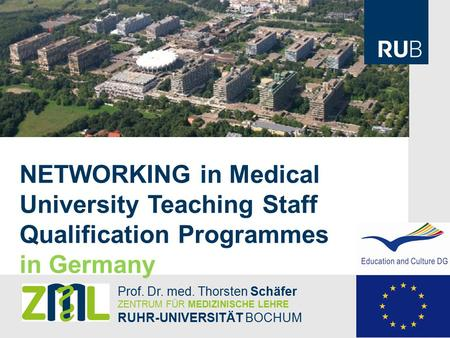 NETWORKING in Medical University Teaching Staff Qualification Programmes in Germany Prof. Dr. med. Thorsten Schäfer ZENTRUM FÜR MEDIZINISCHE LEHRE RUHR-UNIVERSITÄT.