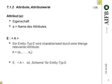 ER-Modell 10.01.2002 1 7.1.2Attribute, Attributwerte (1|8) Attribut (a): Eigenschaft a = Name des Attributes E : Ein Entity-Typ E wird charakterisiert.