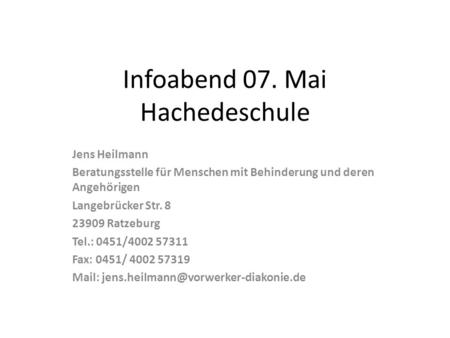 Infoabend 07. Mai Hachedeschule