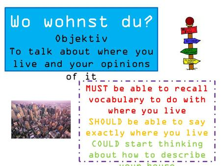 Wo wohnst du? Objektiv To talk about where you live and your opinions of it MUST be able to recall vocabulary to do with where you live SHOULD be able.