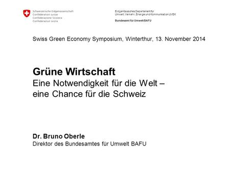 Swiss Green Economy Symposium, Winterthur, 13