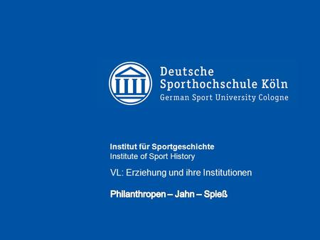 Institut für Sportgeschichte Institute of Sport History.