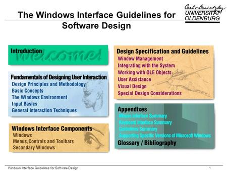 Windows Interface Guidelines for Software Design1 The Windows Interface Guidelines for Software Design.