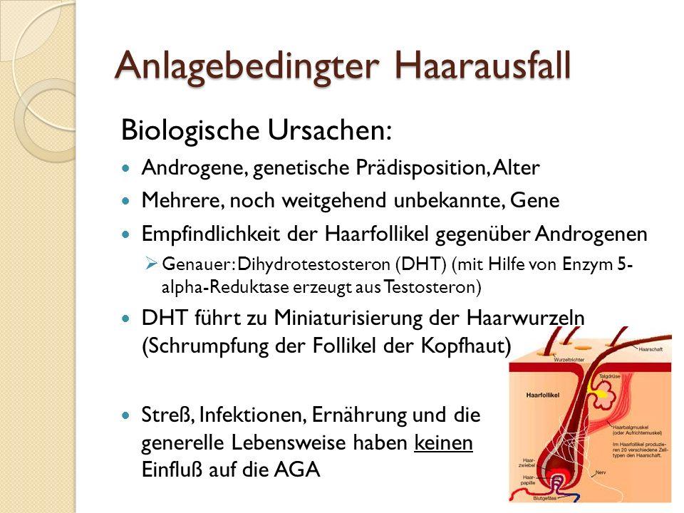 Anlagebedingter Haarausfall Behandlung: Medikamente ◦ Finasterid (Propecia), Dutasterid (Männer)  Hemmen Enzym 5-alpha-Reduktase (Pille).