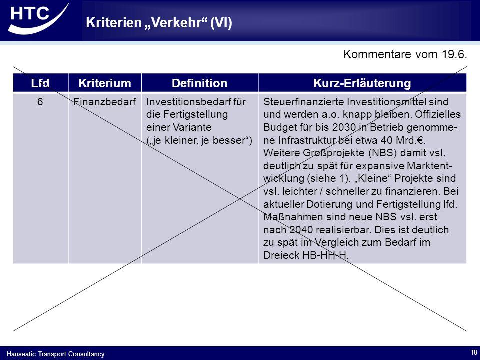 """Hanseatic Transport Consultancy Kriterien """"Verkehr (VIII) 19 LfdKriteriumDefinitionKurz-Erläuterung 8Kostengünstige Trassenpreise Höhe des vsl."""