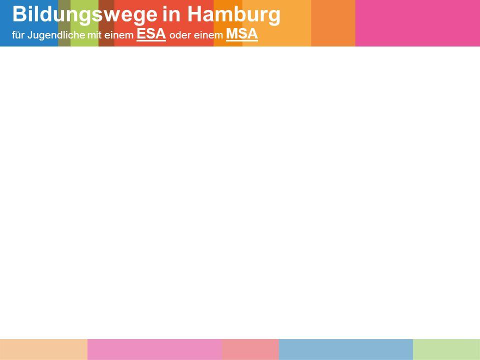 Schulische Bildungswege in Hamburg für Jugendliche mit ESA (= Erster allgemeinbildender Schulabschluss/ früher Hauptschulabschluss)