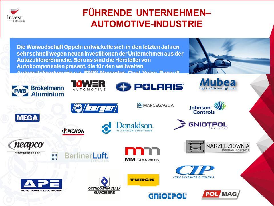 71% der ausländischen Investoren in der Woiwodschaft Oppeln sind Unternehmen mit deutschem Kapital, vor allem in den Branchen Automotive, BauIndustrie, Maschinenbau, Elektronik und Lebensmittelindustrie.