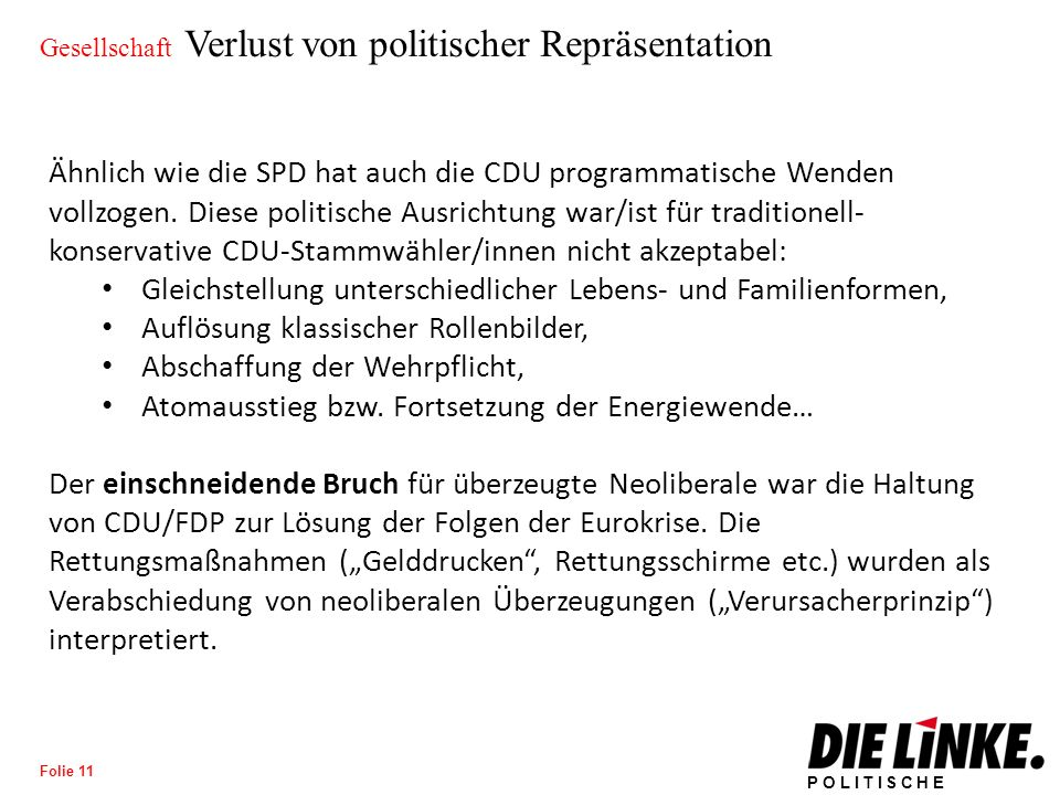 POLITISCHE BILDUNG Folie 12 Gesellschaft Verlust von politischer Repräsentation Video: https://www.youtube.com/watch?v=iLW87VoRaM8