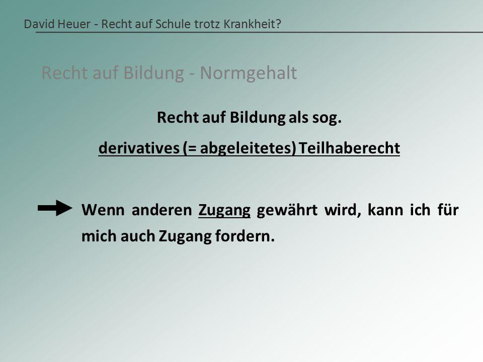 David Heuer - Recht auf Schule trotz Krankheit.Art.
