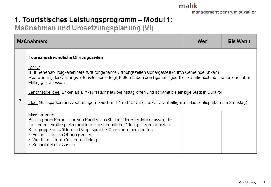 12© malik-mzsg Inhaltsverzeichnis 1.Touristisches Leistungsprogramm – Modul 1 2.Mobilitätskonzept – Modul 2 3.Infrastrukturkonzept – Modul 3 4.Innenmarketing und Qualitätsmanagement – Modul 4 5.Außenmarketing und Branding – Modul 4 6.Umsetzungsorganisation 7.Nächste Schritte 8.Ideenspeicher / zu prüfen