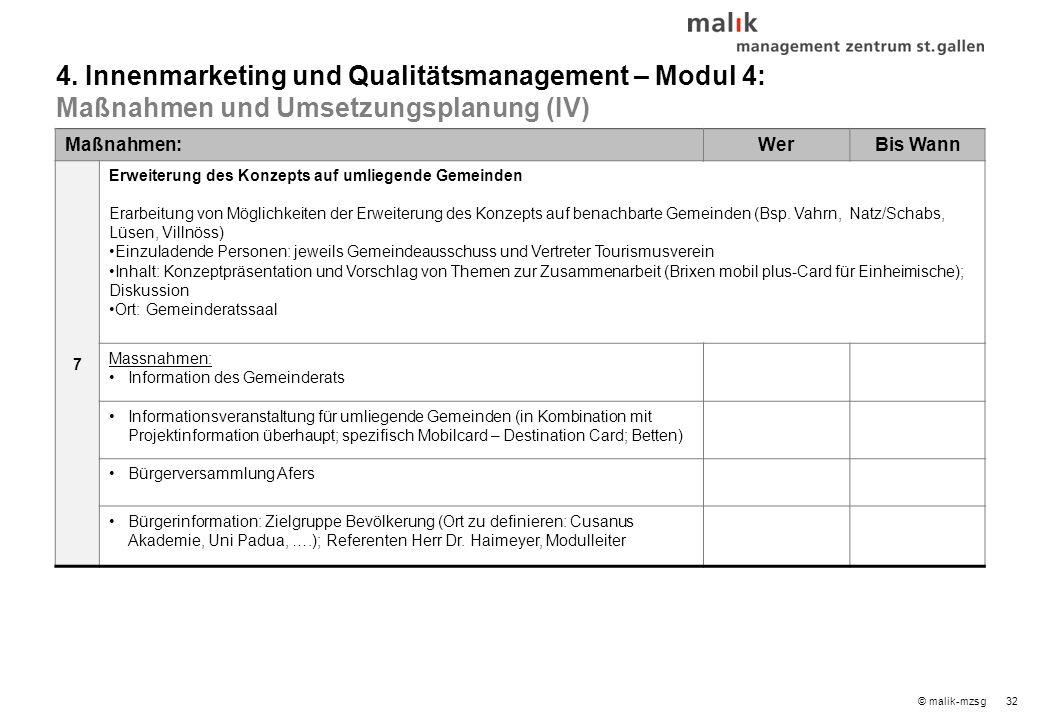 33© malik-mzsg Inhaltsverzeichnis 1.Touristisches Leistungsprogramm – Modul 1 2.Mobilitätskonzept – Modul 2 3.Infrastrukturkonzept – Modul 3 4.Innenmarketing und Qualitätsmanagement – Modul 4 5.Außenmarketing und Branding – Modul 4 6.Umsetzungsorganisation 7.Nächste Schritte 8.Ideenspeicher / zu prüfen Seite