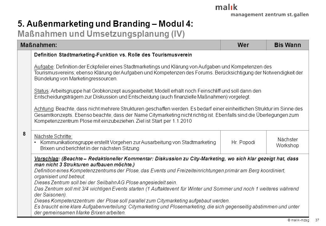 38© malik-mzsg Maßnahmen:WerBis Wann 9 Vermarktungsplan und Aktivitätenplan Sommer 2009 und WS 2009/10 Entwicklung eines Vermarktungsplans auf Basis des Konzepts für die aktive Ansprache je Zielland und Zielgruppe (besonders schwierig April-Mai-Juni) auch in Zusammenarbeit mit dem Forum Verstärken der Medienpräsenz für die Zielgruppe Gäste: Verstärken der Medienpräsenz von Brixen/Plose (Radio und Print) über aktives Ansprechen von Journalisten: 1.
