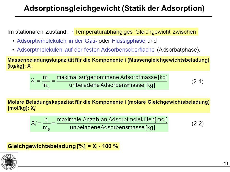 12 Adsorptionsgleichgewicht (Statik der Adsorption) Beladung der Festphase (Adsorbens) - X [kg/kg] Beladung der Gasphase - Y [kg/kg] Beladung der Gasphase mit der Komponente i [kg/kg]: Y i : (2-3) Adsorptionsisotherme  Beladungskapazität X i '  Gleichgewichtspartialdruck der Komponente i (p i *)  Beladungskapazität X i  Gleichgewichtskonzentration der Komponente i (  i * )  Gleichgewichtsbeladung [%]  Gleichgewichtskonzentration der Komponente (  i * )