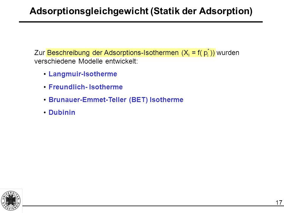 18 Gliederung 1Einleitung 2Grundlagen der Adsorption 2.1Adsorptionsgleichgewicht (Statik der Adsorption) 2.2Kinetik der Adsorption (Stoff- und Wärmetransport) 2.3Dynamik der Adsorption (Adsorption im Festbettadsorber) 3Bauformen von Adsorbern 4Charakterisierung von Adsorbentien 5Technische Adsorbentien 6Regenerierung, Reaktivierung und Entsorgung von Adsorbentien 7Auslegung von Adsorbern 8Großtechnische Anwendungsbeispiele