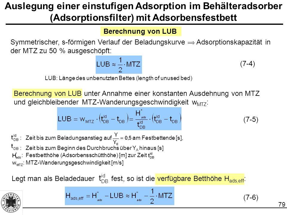 80 Auslegung einer einstufigen Adsorption im Behälteradsorber (Adsorptionsfilter) mit Adsorbensfestbett Druckverlust  p der Abgeberphase beim Durchströmen des Adsorbensfestbett der Höhe H ads,eff (Gleichung von Ergun): k 1, k 2 :schüttungsspezifische Konstanten [-]  :Schüttungsporosität [-]  g :dynamische Viskosität [kg/(m*s)]  g :Dichte der Abgeberphase [g/m 3 ], w g :Geschwindigkeit, bezogen auf den Schüttungsquerschnitt [m/s] d p :Adsorbensdurchmesser [m] (7-7)