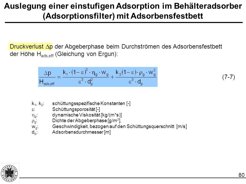 81 Auslegung einer einstufigen Adsorption im Behälteradsorber (Adsorptionsfilter) mit Adsorbensfestbett Enthalpiebilanz um den Festbettadsorber: h g, E, h g, A :Enthalpie des ein- bzw.