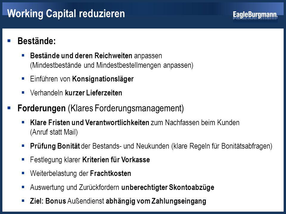  Verbindlichkeiten:  Prüfung der Kreditwürdigkeit wichtiger Lieferanten  Anzahlungen an Lieferanten nur gegen Bürgschaft  Verlängern von Zahlungszielen Working Capital reduzieren
