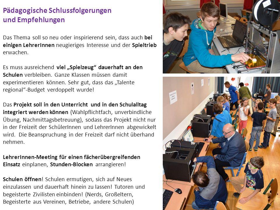 Pädagogische Schlussfolgerungen und Empfehlungen Wissens-Transfer über das Schuljahr hinaus sicherstellen.